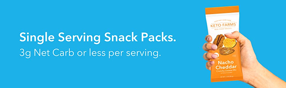 Single Serving Snack Packs. 3g Net Carb or less per serving.