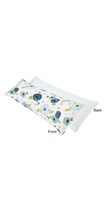 Navy Blue and Pink Watercolor Floral Body Pillow Case Cover (Pillow Not Included)
