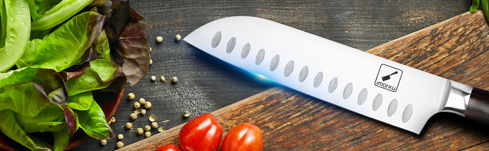 santoku 7 inch imarku,chef knife,great santoku knife,small santoku knife,professional chef knife