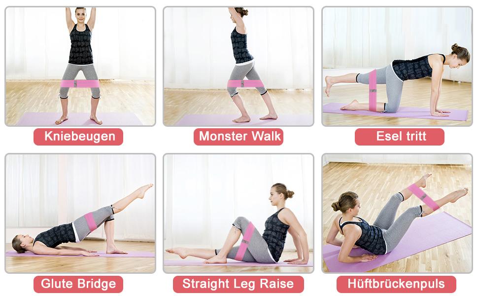 NEEKFOX Bandas de Resistencia para piernas y glúteos de tela elástica para ejercicios de ejercicios gruesos y antideslizantes banda de fitness para ...