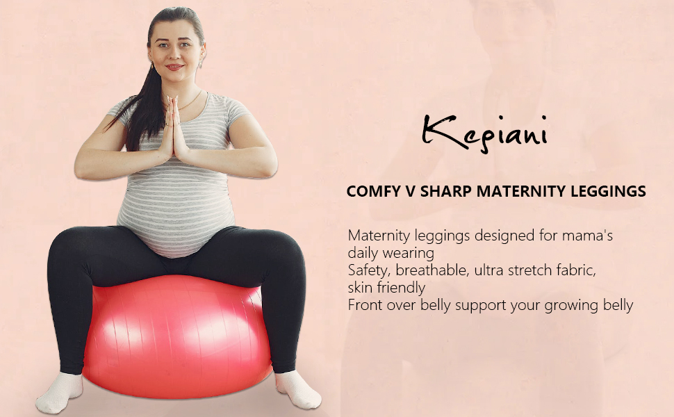 Kegiani Maternity Leggings Over Belly Active Wear Maternity Clothes for Women Stretch Printed Pockets Pregnancy Yoga Pants
