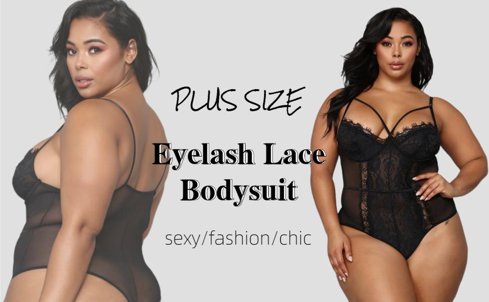 sexy eyelash lace bodysuit sheer mesh teddy lingerie