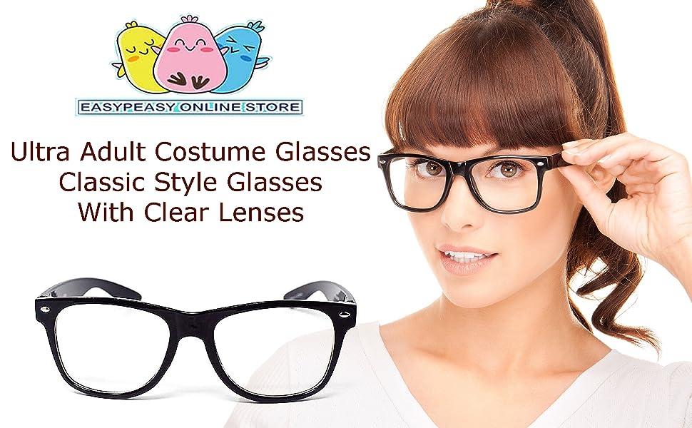 Kids Black Clear Wayfarer Geek Fancy Dress Glasses WORLD BOOK DAY Adults