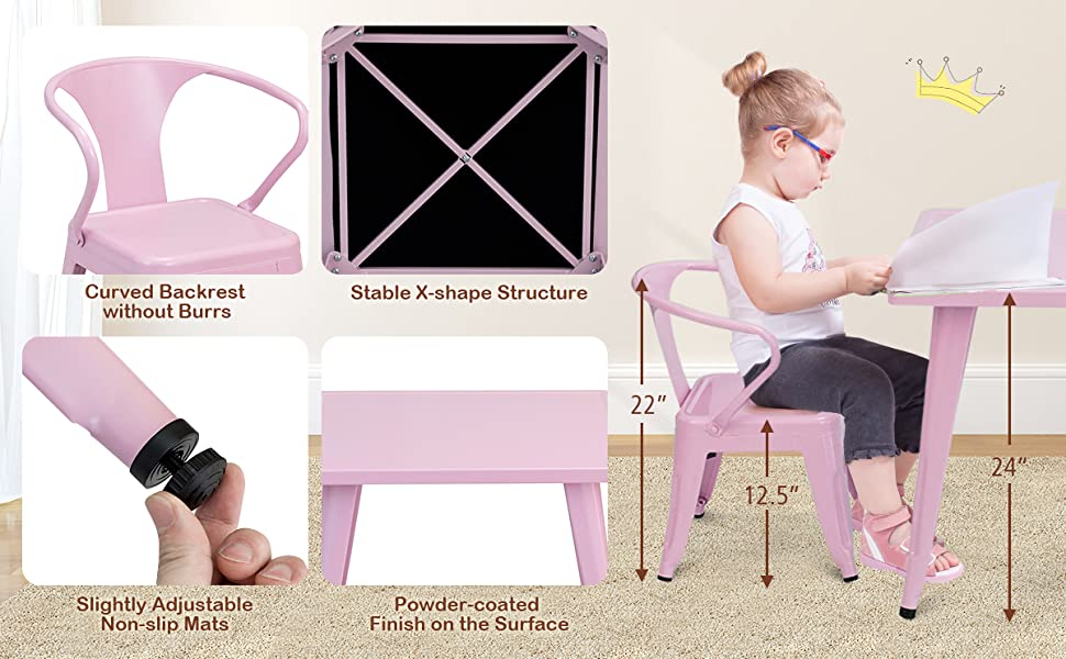 kids chair with curved backrest, table with stable X-shape structure, and adjustable non-slip mats