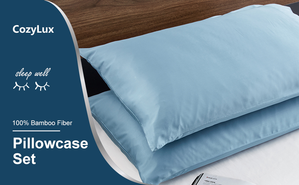 CozyLux Bamboo Pillowcase Set Cooling Soft Pillow Cases