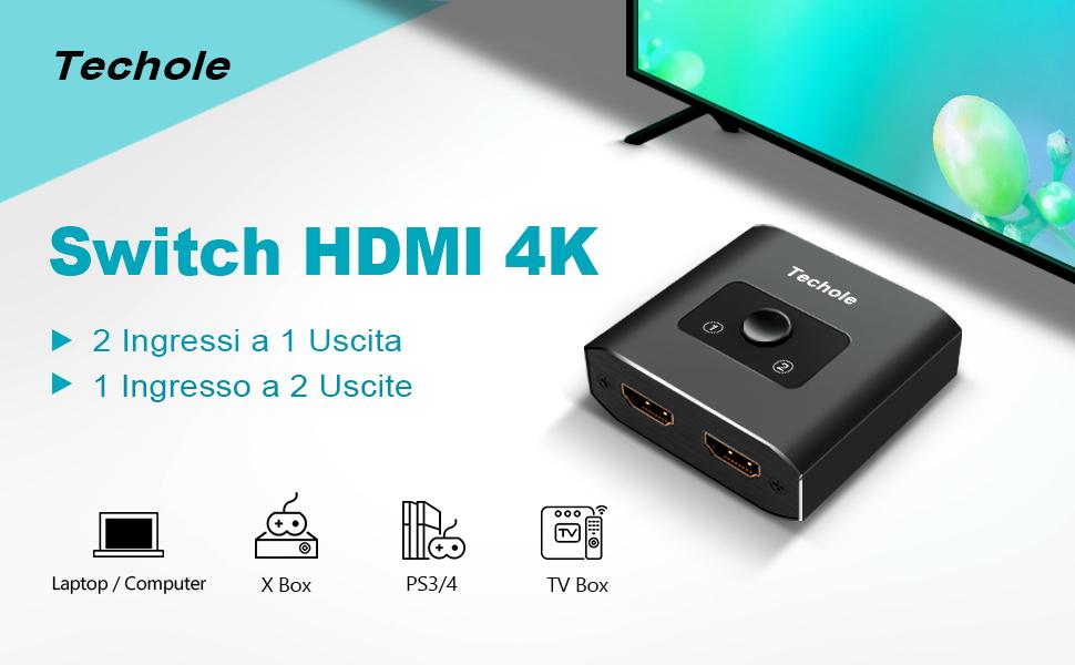Alluminio Switch HDMI Bidirezionale 2 Ingressi 1 Uscita o 1 Ingresso 2 Uscite