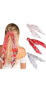 3Pcs  Chiffon Ponytail Hair Scarf Scrunchies