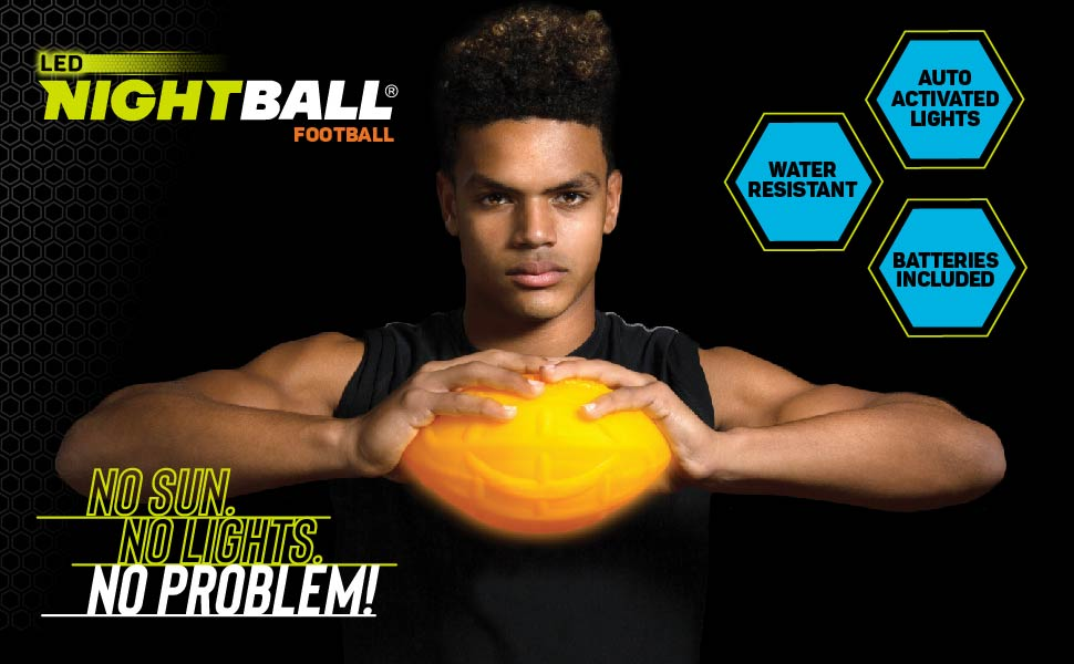 nightball football lightup glow sports LED technology inflated outdoor nfl