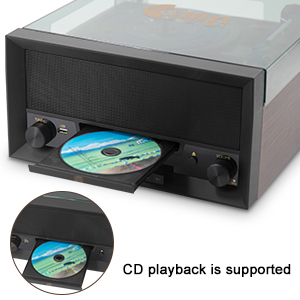 All-in-One Turntable with CD Player and FM Radio