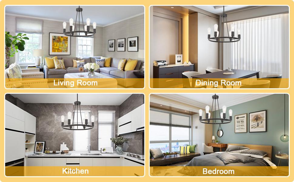 BONLICHT circular chandelier Oil-Rubbed Bronze dining room lighting fixtures hanging glass shande