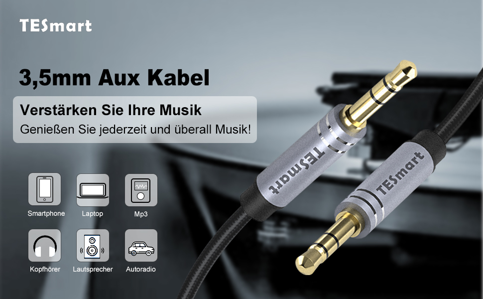 Aux Kabel 3 5mm Klinkenkabel Tesmart 3 5 Klinke Auf Elektronik
