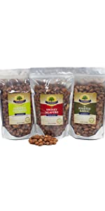 16 oz 3-pack variety bold spicy jalapeno wasabi bbq garlic smokehouse flavor artisan snack almonds