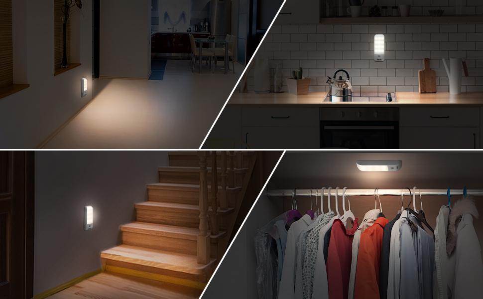 Luz Nocturna, OMERIL Luces LED Armario con Sensor Movimiento (2PCS con 24 LED), Lámpara Nocturna Recargable con 3 Modos, Luz Cálida para Armario, Pasillo, Escalera, Sótano, Cocina, Garaje, Gabinete: Amazon.es: Hogar