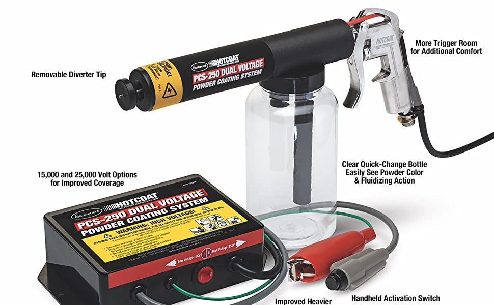 eastwood professional look powder coat paint gun system oven original spray removable tip charge