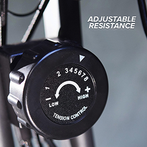Adjustable resistance dial on Slim Cycle  exercise bike