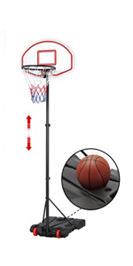 6.4-8.2 ft Height-Adjustable Basketball Hoop System (Red)