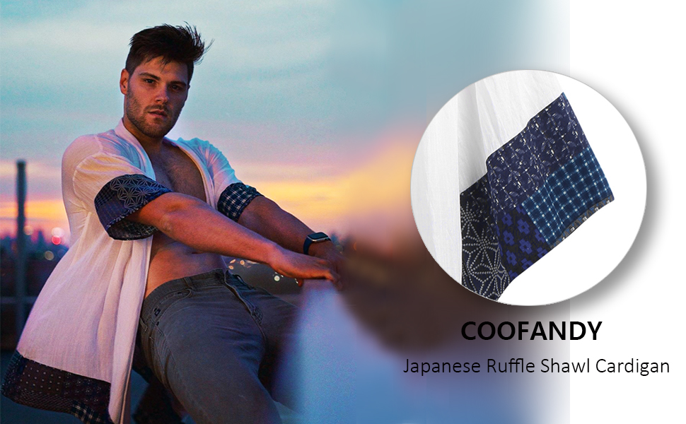 Men's Ruffle Shawl Collar Cotton Cardigan Long Kimono Jackets