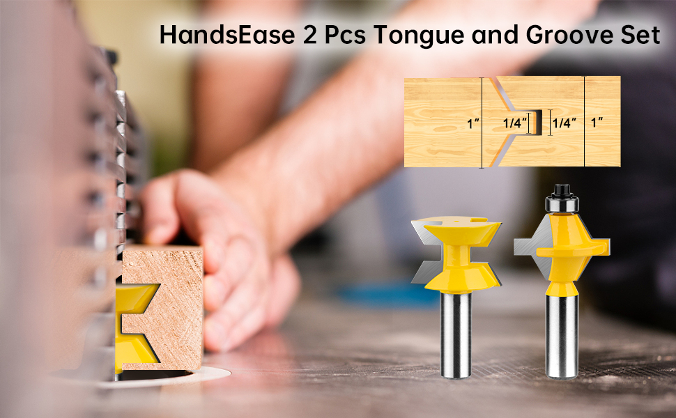 "HandsEase 2Pcs 1/2"" Shank Router Bit Set 120 Degree"