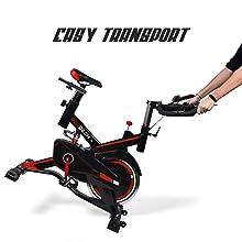 bici da spinning salvaspazio ripetibile e trasportabile con ruote