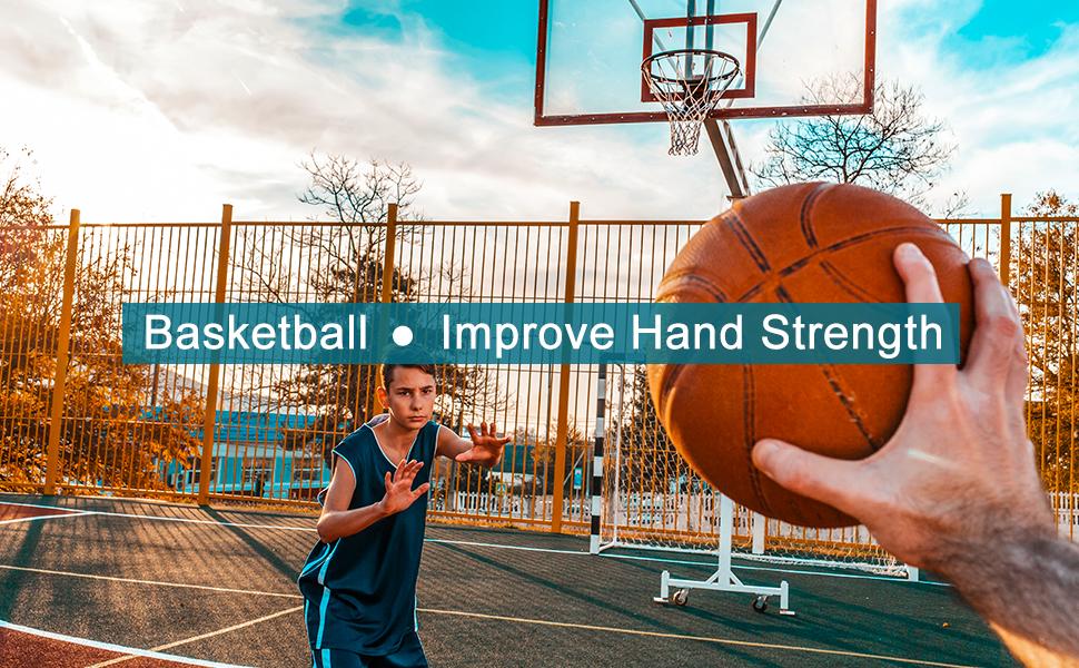 Hand catching a basketball