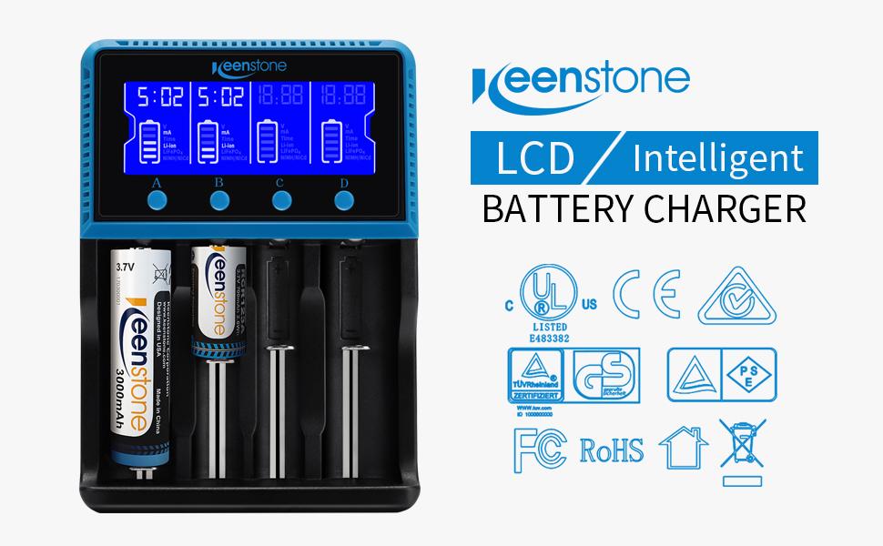 Keenstone 18650 Cargador Batería Universal, Cargador Pilas AA y AAA con Pantalla LCD para Baterías Recargables Ni-MH Ni-CD LiFePO4 Li-Ion CR123A 10440 ...