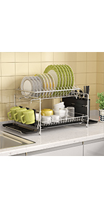 Sink Side Dish Rack with Drainboard Cutlery Utensil Holder Dish Drainer