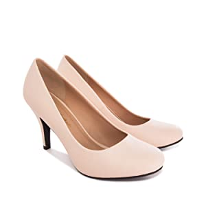 UK Round Toe Andres Machado Stilettos Made of Beige Manmade Patent Leather for Women//Girls with a 3.74 // 9.5 cm Heel AM422 High Heels