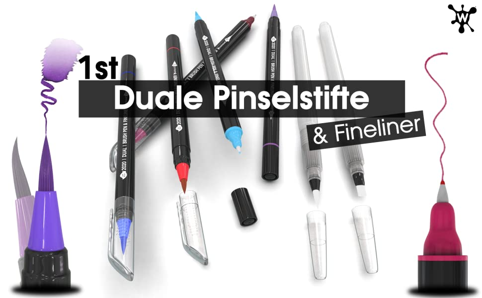 duale pinselstifte mit fineliner woohoo4u