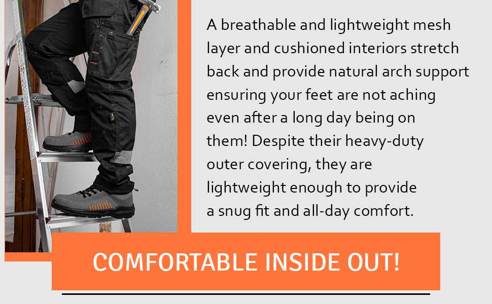 Mens safety shoes with a nonslip. Composite toe cap with kevlar midsoles durable construction