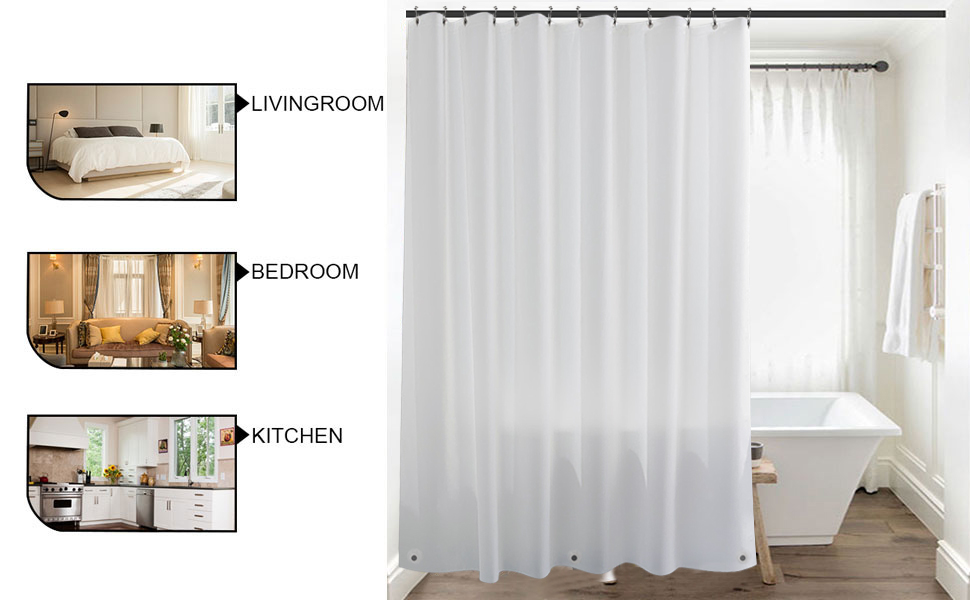 Clear 3D Water Cube Design PEVA Shower Curtain Bathroom Waterproof Fabric shan