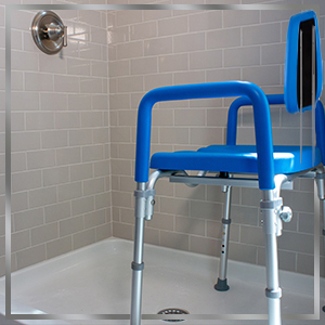dignity positioned in shower suggesting that it can also be used in the shower