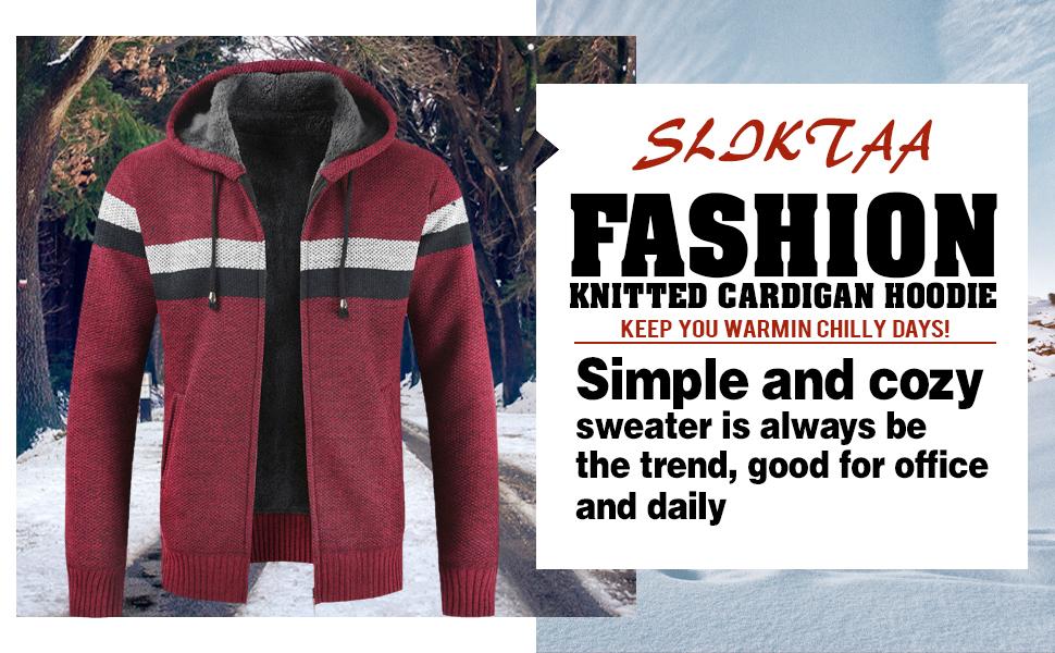 Mens Knitted Cardigan Hoodie Sweater Chunky Knitwear Jumper Full Zip Autumn Winter Coat XS