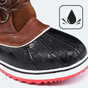 Fashion cold weather faux fur lined snow wide calf rain waterproof womens winter boots