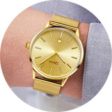 mens gold watch wear model show