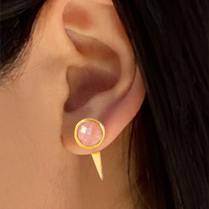 Pink Coral Earring Coral Gold Earring Geometric Earrings Gold Studs Bridal Jewelry Minimal Studs Bridesmaids Jewelry Triangle Earring