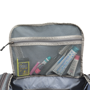 toiletries neatly kept in the Flap mesh zipper for travel, vacation, business trip