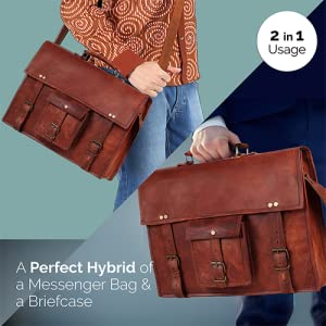 Men women Handmade genuine Leather laptop computer Messenger Bag Shoulder briefcase Bags