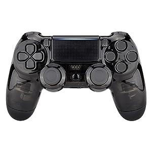 eXtremeRate Carcasa PS4 Funda Delantera Protectora de la Placa Frontal Cubierta reemplazable para Mando de Playstation 4 PS4 Slim Pro (CUH-ZCT2 JDM-040 JDM-050 JDM-055) Transparente Cristal Negro: Amazon.es: Electrónica