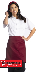 half apron unisex tie on back simple burgundy navy white black server cleaning apron delantal khaki