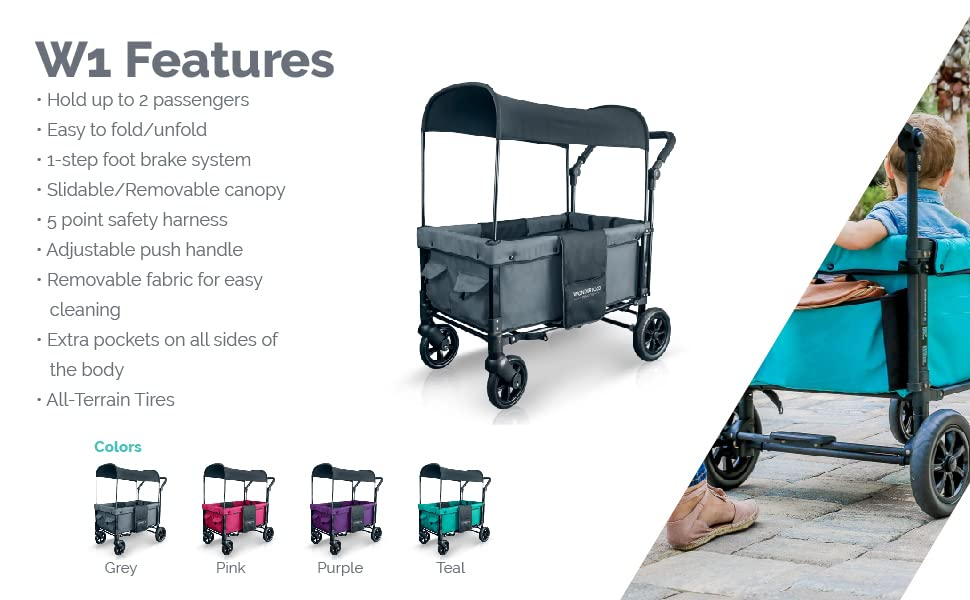 WonderFold W1 Collapsable Stroller Wagon with adjustable canopy, 5-point harnesses, and foot brake