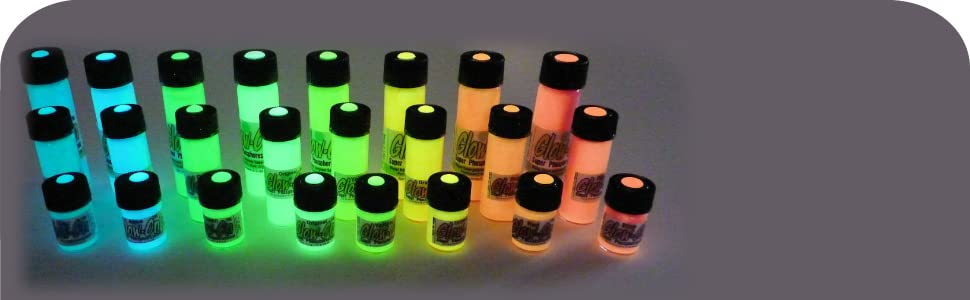 Various vials with Glow-On inside, in three sizes and eight different colors