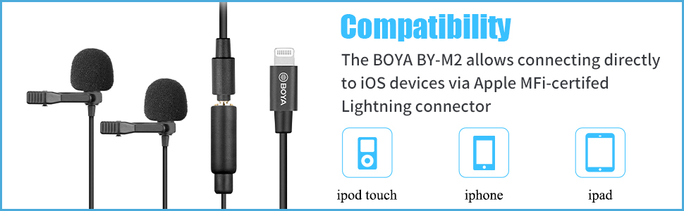 boya dual iphone lightning microphones