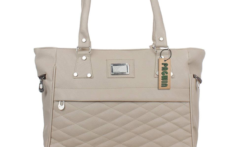 PAGWIN Women's Pu Leather Light Grey Color Handbag