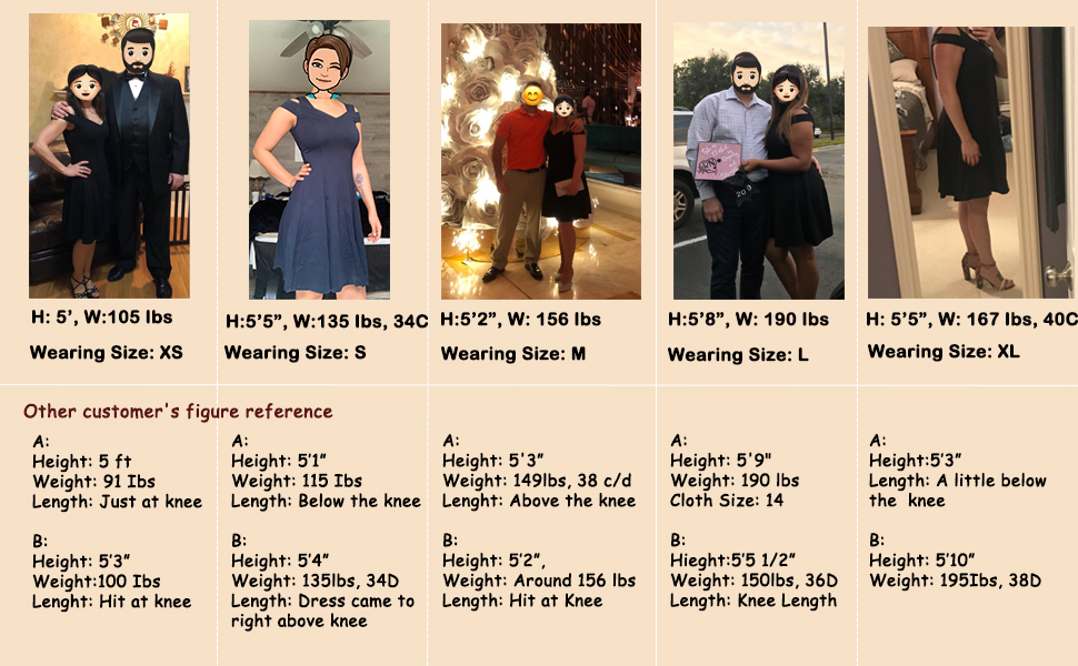 Size reference of cute summer skater dress