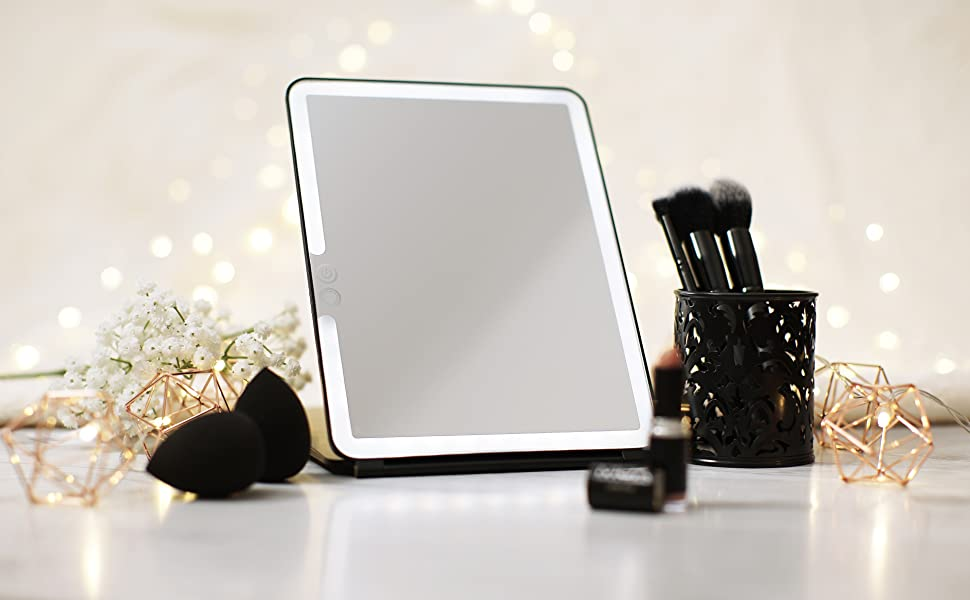 Lighted Makeup Mirror with Cover, Super Bright Mirror with Lights, Compact Light Vanity Touch Screen