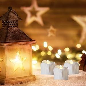 PChero Christmas LED Decorative Timer Tea Light Candles