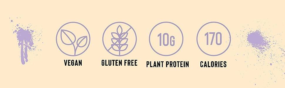 vegan, gluten free, plant protein, 170 calories