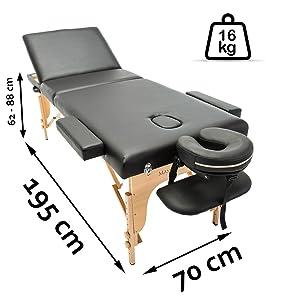 chalfont table de massage portable noir dimensions