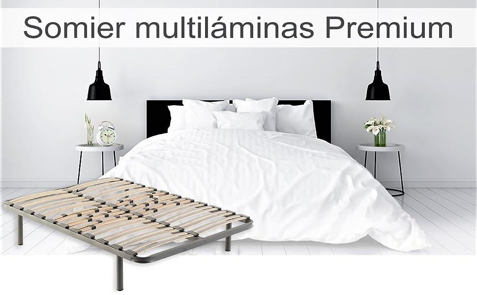 CLOEN Somier Multiláminas Premium con Patas Metálicas ...