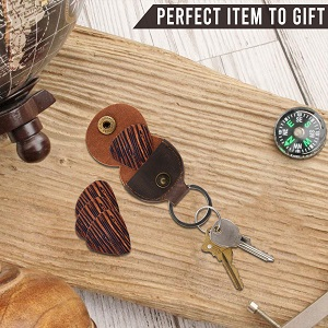 guitar pick leather personalized name picture magnetic music musicians retro wallet travel hide